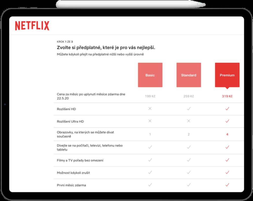 Netflix cena - předplatné od 199 Kč
